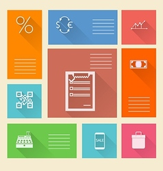 Flat square icons for web payment vector image