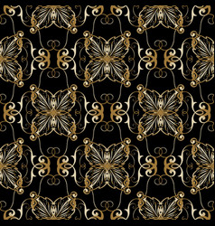 floral gold baroque seamless pattern vector image