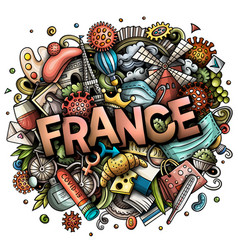 france hand drawn cartoon doodles vector image