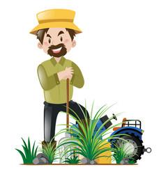 Gardener working in garden vector