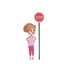 Girl stands behind sign stop vector
