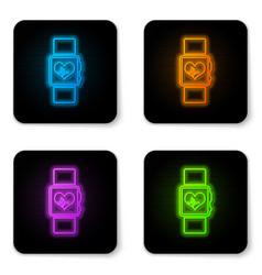 glowing neon smart watch showing heart beat rate vector image