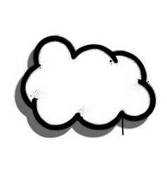 graffiti cloud with drop shadow sprayed in black vector image
