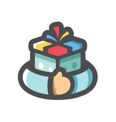 Greed for gift hands with present icon vector