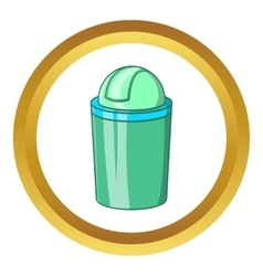 Green trash can icon vector