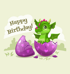 happy birthday greeting card template little cute vector image