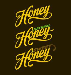 Honey lettering text vector