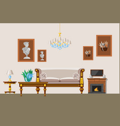 interior living room in old victorian style vector image