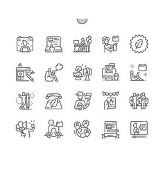 International bloggers day thin line icons vector
