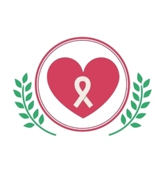 Isolated heart and breast cancer design vector