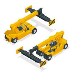 isometric mobile container handler in action vector image