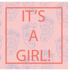 Its-a-girl-card-with-feets-and-frame vector image