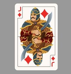 Jack of diamonds playing card vector
