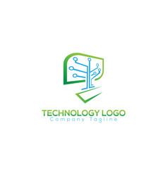 leaf tech logo concept and idea vector image