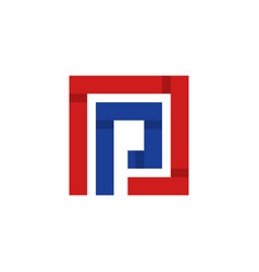 letter p square monogram logo vector image