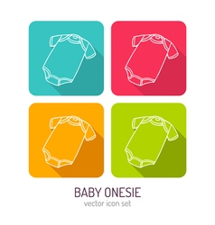 Line art baby onesie icon set in four color vector