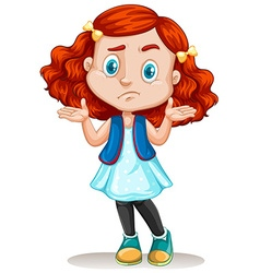 Little girl with red hair vector