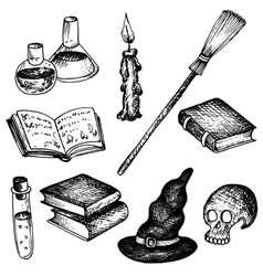 magic set objects for witch vector image