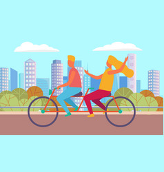 man and woman on bicycle in city activity vector image