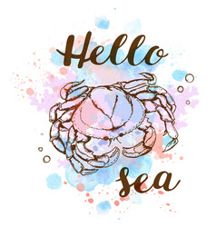 Marine background with crab vector