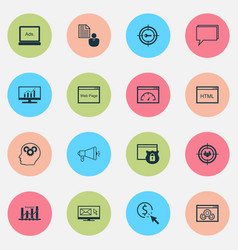 Marketing icons set collection of website focus vector