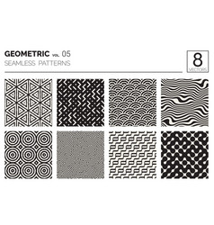 minimal geometric seamless patterns set vector image