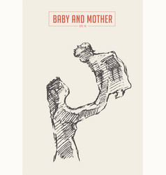 Mother and child silhouette drawn sketch vector