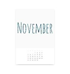 November 2017 calendar page vector
