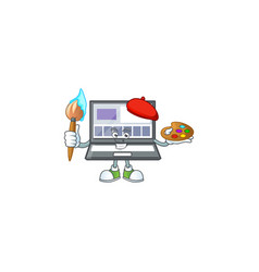 Painter laptop with a cartoon character style vector