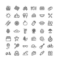 Picnic black thin line icon set vector