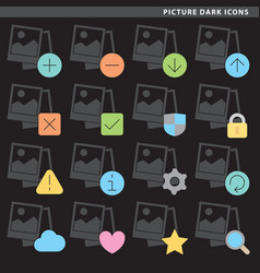 Picture dark icons vector