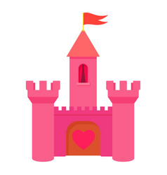 pink princess castle icon cartoon style vector image
