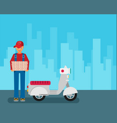 pizza delivery by courier with scooter in the vector image
