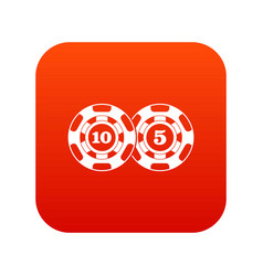 Poker chips nominal five and ten icon digital red vector
