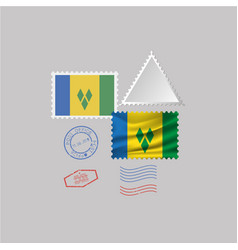 Saint vinsent and grenadines flag postage vector