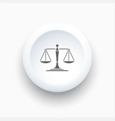 Scales of justice icon on a simple white button vector