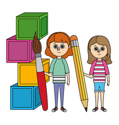 School girls cartoon vector