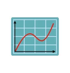 Screen arrow graph board flat icon vector