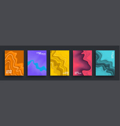 set abstract colorful posters covers template vector image