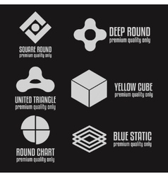 set abstract logo emblem label or logotype vector image