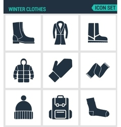 Set of modern icons Winter clothes shoes vector