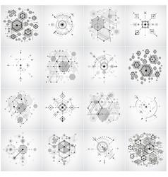 Set of modular bauhaus black and white vector