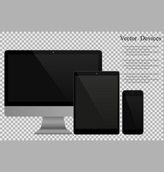 set of realistic computer monitors tablets and vector image