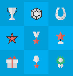Set simple reward icons elements first metal vector