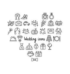 set wedding icons on white background vector image