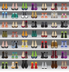 Shoes on shelves seamless background vector
