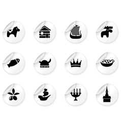 Stickers with swedish icons vector image