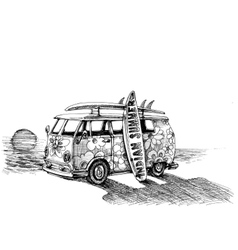 Surf van on the beach Hand drawn vector