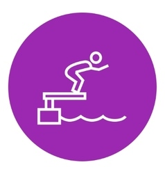 Swimmer jumping from starting block in pool line vector