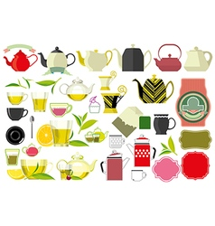 Tea teacup and teaspoon tea leaf big set vector